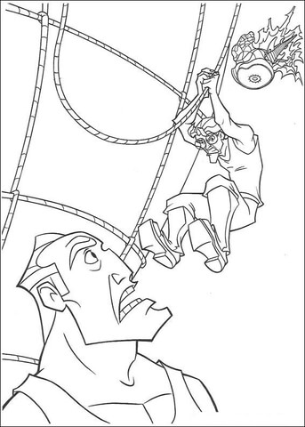 Milo Tries To Kick Rourke coloring page