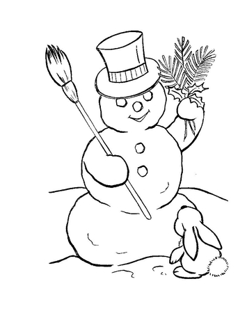 Snowman in hat with rabbit coloring page