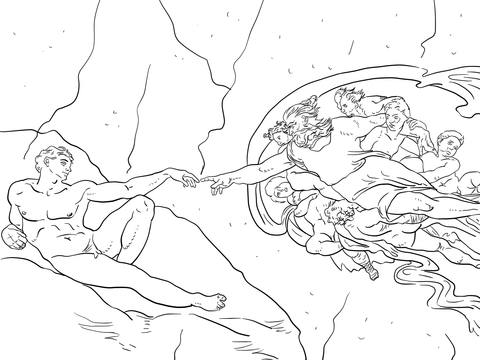 The Creation of Adam coloring page