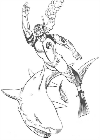 Action Man and a shark  coloring page