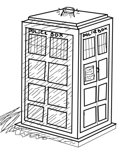 The Tardis coloring page