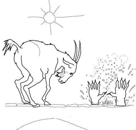 The Third Billy Goat Throws Troll from the Bridge Coloring page