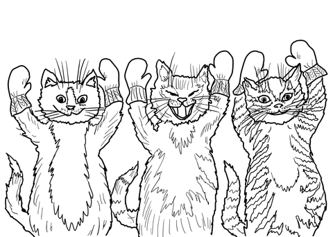 The Three Little Kittens They Found Their Mittens, coloring page