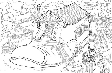 There Was an Old Woman Who Lived in a Shoe coloring page