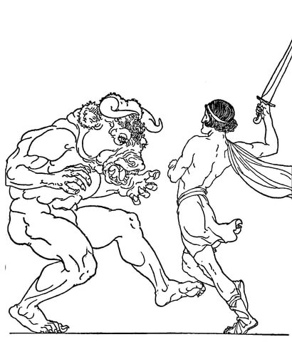 Theseus Slaying The Minotaur Coloring Page Free Printable Minotaur Coloring Pages