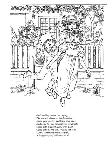 Girls and Boys Come Out to Play coloring page