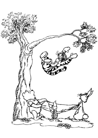 Tigger Falling from a tree coloring page