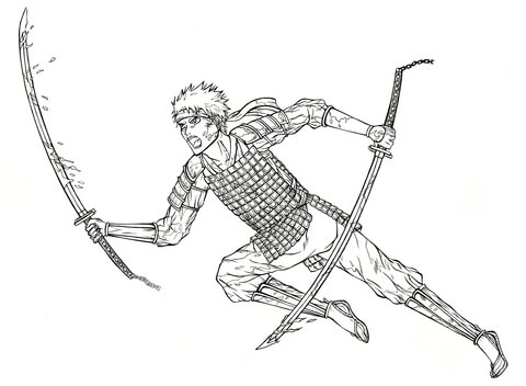 Naruto from Manga Gintama coloring page