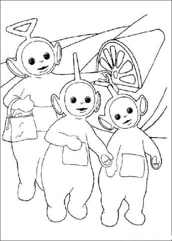 Tinky-Winky, Dipsy and Laa-Laa coloring page