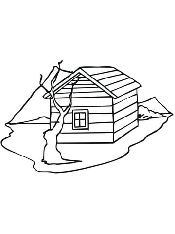 Traditional House in Norway coloring page