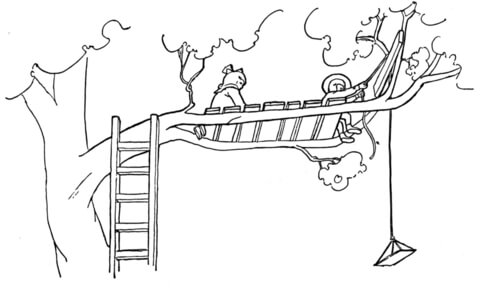 Treehouse coloring page - Free Printable Coloring Pages