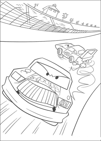 Chick Hicks leaves McQueen behind coloring page