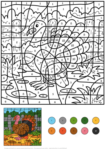 Turkey Color by Number coloring page
