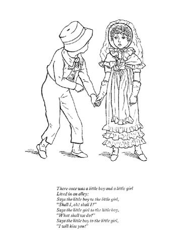 There once was a little boy and a little girl coloring page