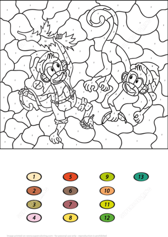 Two Monkeys Color by Number coloring page