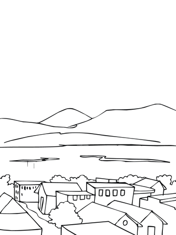 Typical City Landscape in Norway coloring page