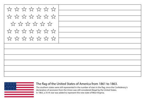 US Flag with 34 Stars (1861-1863) coloring page