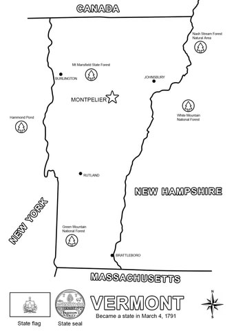 Vermont State Map coloring page