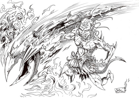 Warrior of Hell coloring page