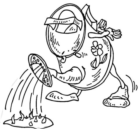 A cartoon-like watering can coloring page
