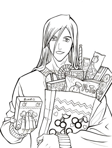 Ukitake Taichou: Who wants some candy? from Manga Bleach coloring page