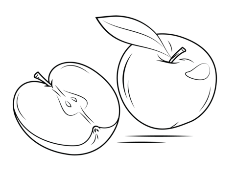 Whole Apple and Cross Section coloring page