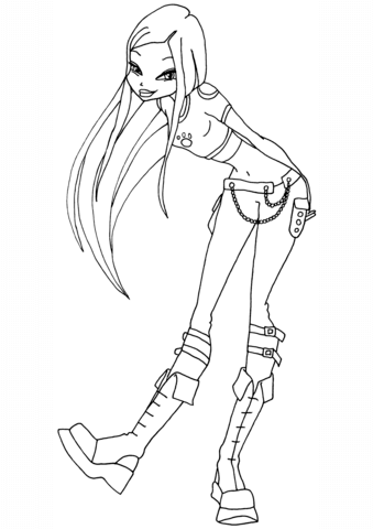 Winx Club Roxy Coloring Page Free Printable Coloring Pages