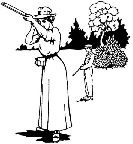 Woman With a Gun  coloring page