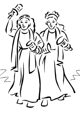 Women Playing Maracas coloring page
