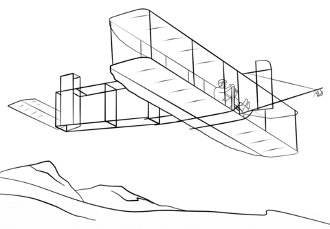 Wright Brothers Airplane coloring page