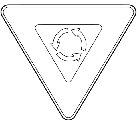 Yield at Roundabout coloring page