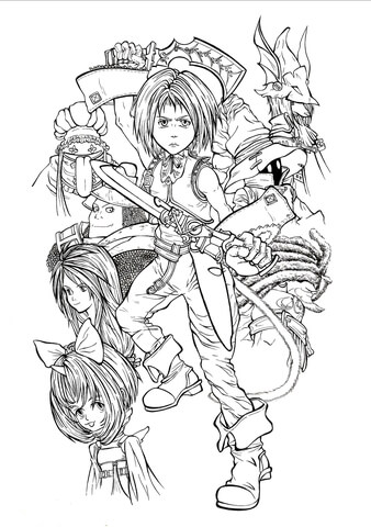 Full-time playable characters of Final Fantasy IX coloring page