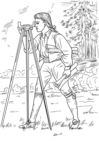 Young George Washington Surveyor and Mapmaker coloring page