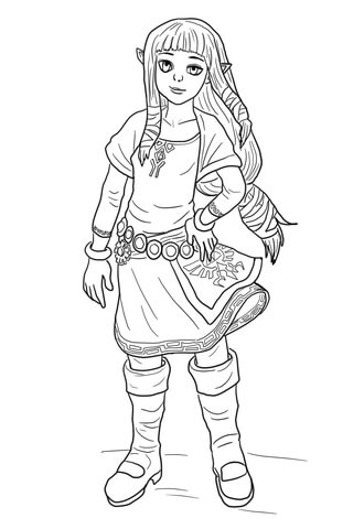 Young Zelda coloring page - Free Printable Coloring Pages